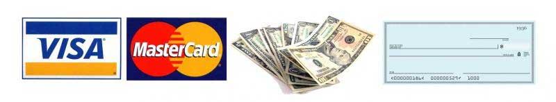 We accept visa, mastercard, cash and check