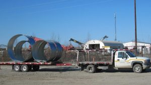Truck Delivers Steel Supplies